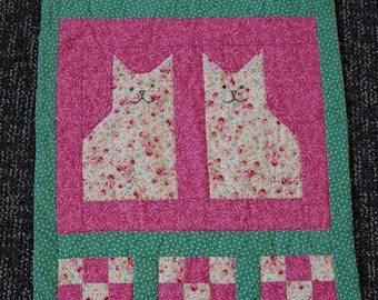 CLEARANCE SALE, Cat Wall Hanging, Hand Quilted, Patchwork