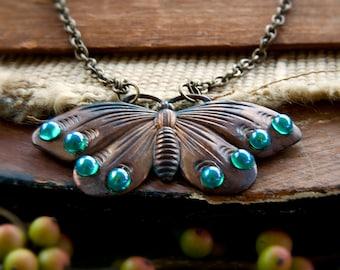 Rebirth Butterfly Necklace - Oxidized Dark Copper - Moth Pendant Necklace - Art Nouveau Jewelry