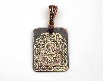 Star pendant, small flat rectangular etched copper playing card jewelry, optional necklace, 25mm