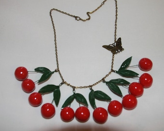 Cherry necklace polymer clay and chain bronze