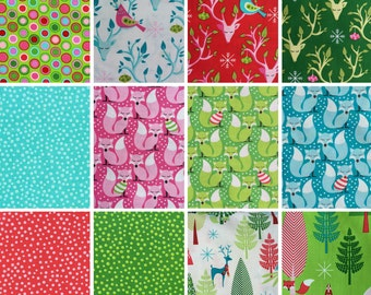 Michael Miller Festive Forest by Tamara Kate ~ Christmas Fabric BUNDLE Fat Quarter or Half Yard