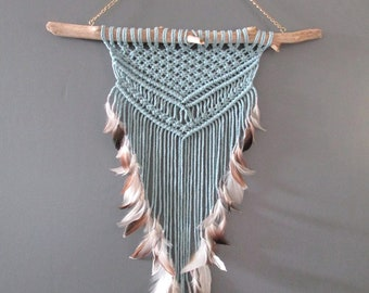 Macrame wall blue wood driftwood and feathers