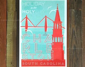 Charleston, South Carolina - 12 x 18 Retro Travel Print