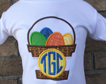 Personalized Easter Egg Basket Monogram Shirt