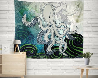 Octopus tapestry,Abstract Home Decor,Wall Hanging,Tapestry Wall Hanging,Watercolor Tapestry,Art Tapestries,Large Size Tapestries