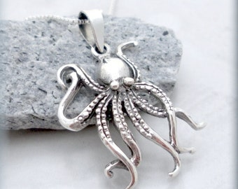 Octopus Necklace, Sterling Silver, Ocean Necklace, Beach Jewelry, Marine Jewelry, Minimalist, Octopus Pendant, Summer Jewelry