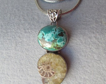 """Chunky Tibetan Turquoise, Ammonite Fossil Sterling Silver Pendant Necklace on 18"""" Wheat Chain"""