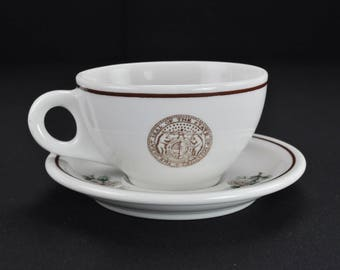 The Great Seal of the State of Missouri Coffee Restaurant Ware Cup and Saucer by Walker China Bedford Ohio Circa 1960