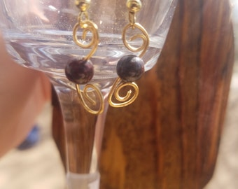 Gold wire and Brown bead earring