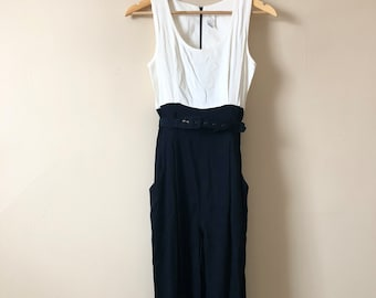 80s Vintage Black and White Sleeveless Jumpsuit with Removable Belt