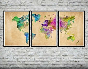 World map art etsy world map art world map watercolor world map poster set world map wall gumiabroncs Images