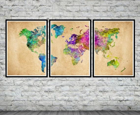 World map art world map watercolor world map poster set gumiabroncs Gallery