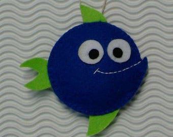 Dark blue and green hanging felt fish
