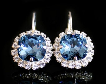 On Sale Sapphire Blue Swarovski Crystals With Clear Halo Crystals on Silver Leverback Earrings/Halo Crystal Earrings
