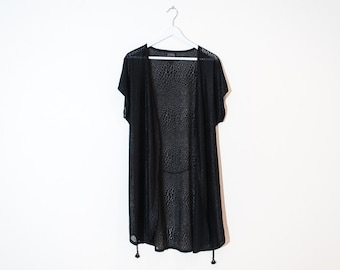 on sale - sheer black animal night robe / open cap sleeve cover-up / size L