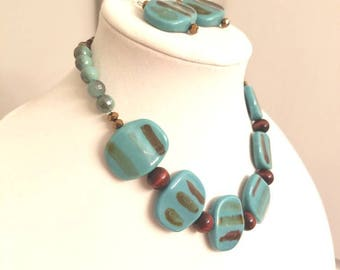 Earring and Necklace Set/Beaded/Elegant/Classy/Wood beads/Sparkly beads/Aqua Ganache
