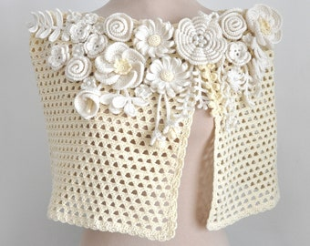 Elegance - Cream and Butter - Crochet Floral Wrap/Shawl