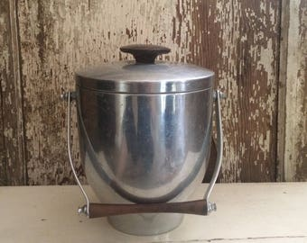Vintage Made in Italy Metal Ice Bucket Mid Century Decor Camping