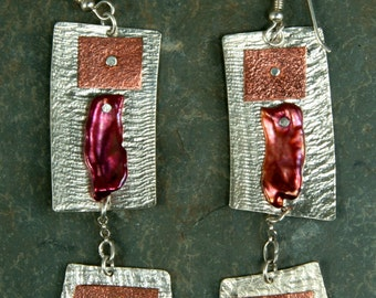 Wine pearl, copper and sterling earrings