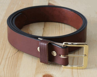 "Men's Belt_1.5"" Bridle Leather Belt _ Brass Buckle _ Brown, Black _ Handmade in Indianapolis, USA"