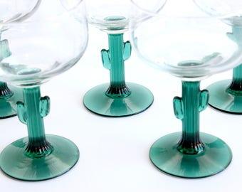 Cactus Stem Margarita Glasses, Set of 6 Cocktail Glasses