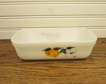 Fire King Milk Glass Baking Dish 1940s peach and grapes