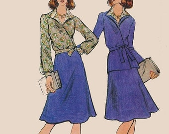 ON SALE Vintage 1970s Misses Wrap Suit and Wrap Blouse w/ Flared Skirt 70s Sewing Pattern Vogue 8960 Size 16 Bust 38 UNCUT