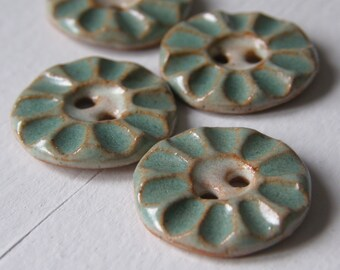 spearmint green handmade ceramic stoneware buttons