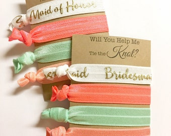 Coral Wedding, Will You Be My Bridesmaid, Will You Help Me Tie The Knot, Summer Wedding, Bridesmaid Hair Ties, Bridesmaid Gift, Coral Mint