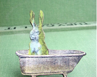 bathing bunny rabbit brooch pin