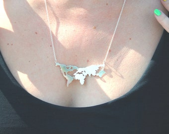 World map necklace in 925 sterling silver