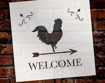 Welcome - Rooster - Word Art Stencil - Select Size - STCL1486 - by StudioR12
