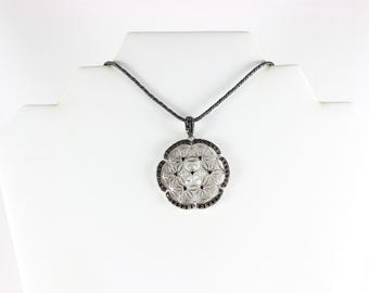 Sterling Silver Black Patina Flower Necklace 16 inch chain