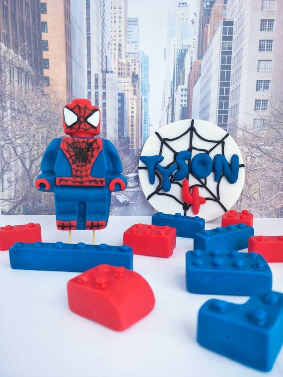 Lego Spiderman edible fondant cake topper. Name and number