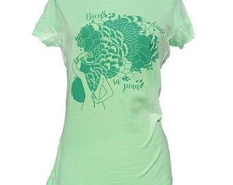 """Cotton T-shirt """"in her skin"""" bio screenprint, current green S/M, Stanley and Stella, illustrated by Clarisse Placard"""