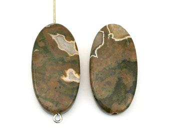2 Rhyolite stone beads/ 15 mm x 30mm  #PP 291