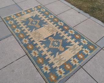 Blue rug. Turkish rug. Hand woven rug. Area rug. Rugs. Oushak rug. Vintage rug. Hand knotted rug. Anatolian rug. Wool rug. Rug.6,8x3,9 feet!