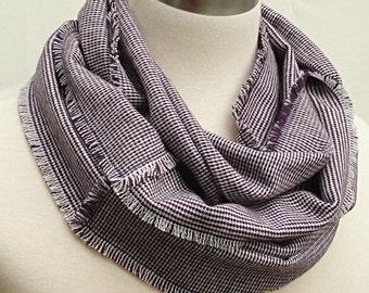 SALE - Plum Plaid Wool Infinity Scarf - Woven Wool Circle Scarf - Men or Women