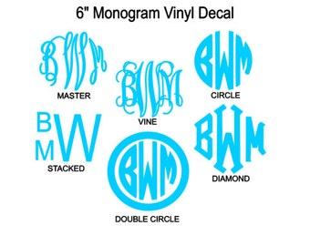 6 Inch Monogram Vinyl Decal