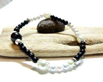 WOMEN bracelet, very thin and discreet classic style Black Onyx