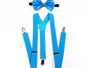 men's suspenders, neon blue, neon blue bowtie, sky blue suspenders, neon blue suspenders, men's suspenders and bowtie, men's bowtie