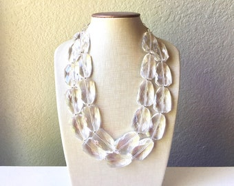 Clear Crystal Statement Necklace & earrings, Faceted beaded jewelry, silver accents chunky bib necklace, resin clear statement necklace