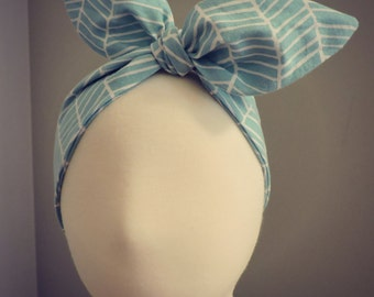 Baby Knotted Headband - Mint Harringbone