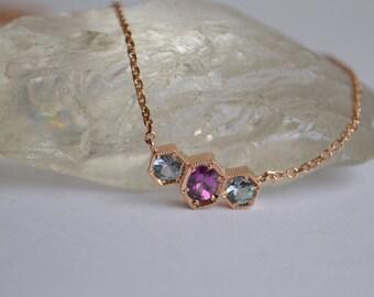 Rose Gold Eternity Necklace, hexagon eternity necklace, colored gemstone necklace, gemstone jewelry, gifts for moms, garnet pendant