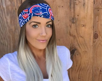 Chicago Cubs Vintage Pinup Turban Headband || Hair Band Baseball Accessory Cotton Workout Yoga Fashion Red Royal Blue White Head Scarf Girl