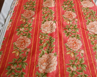 """PINK PEONY on Vibrant ORANGE Fabric Spring Blooms Buds & Butterflies Green Leaves Stripes Cotillion Fancy 44"""" x 2.7 yds Gregg Unused Cotton"""