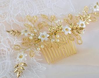 Bridal hair Comb, Wedding Hair Piece, Crystal Headpiece, Rose Gold Hair Comb, Pearl Hair Vine, Wedding Hair comb, Flower Hair Comb