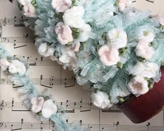 velvet flower trim. pink and blue velvet flower ribbon. pink and blue velvet flower embellishing trim.