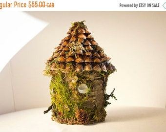 SPRING SALE Rustic fairy cottage, moss and bark fairy house, bird house