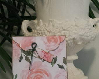 Handmade Envelope with 2 blank cards - Pink